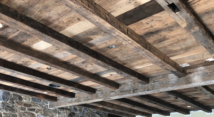 hand hewn beam ceiling in lancaster county home